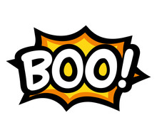 Boo Letters On Comic Text. Isolated Vector