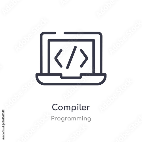 compiler outline icon  isolated line vector illustration