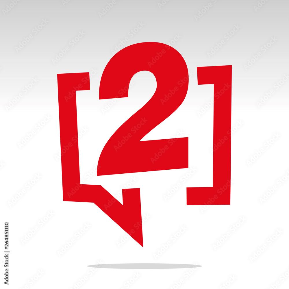 Fototapeta Number two 2 red speech brackets isolated logo icon sticker element