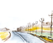 Road Landscape. Road To The Ho...