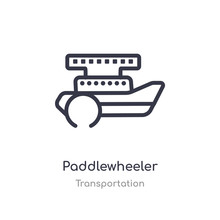 Paddlewheeler Outline Icon. Is...
