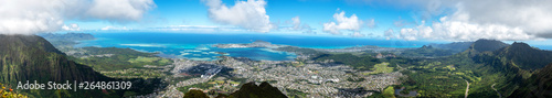 Photo Panoramic view of Kaneohe from the atop Koolau mountain range (Haiku Stairs)