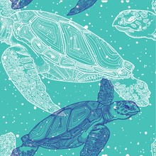 Seamless Pattern With Sea Turtles. Marine Life. Doodling, Mandala Pattern. Drawing By Hand. Stylish Background.