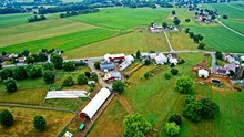 Aerial View Of Amish Farms On ...