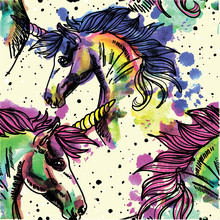 Seamless Pattern With Unicorns. Spots Watercolor Paint. Bright Multi-colored Background.