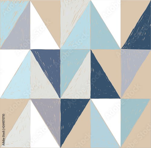 obraz dibond Seamless pattern of triangles. Texture paint freehand drawing. Stylish abstract background with arrows. Texture watercolor.