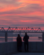 silhouette of couple at sunset