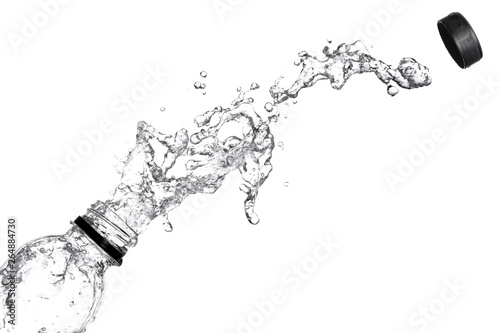Water splash out of bottle isolated on white background. Canvas Print