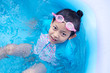Asian Child Girl Having Fun In Garden Paddling Pool with color ball