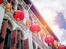 Chinese Lanterns In Chinatown, Singapore