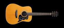Musical Instrument - Front View Classic Vintage Acoustic Guitar Folk. Isolated On Black