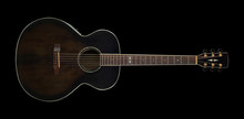 Musical Instrument - Top View Brown Acoustic Guitar On Black. Isolated