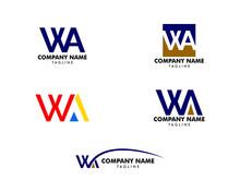 Set Of Initial Letter WA Logo ...