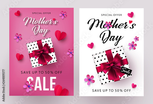 Stickers pour porte Echelle de hauteur Mother's Day sale banners and flyers design set with beautiful gift box, paper hearts and flowers. Place for your text. Trendy holiday Sale kit, social and fashion ads, promotion flyer backgrounds