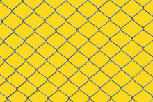 Chain Link Fence With Yellow Background