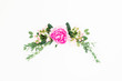 canvas print picture Floral frame made of pink peonies and roses flowers and eucalyptus on white background. Flat lay, top view