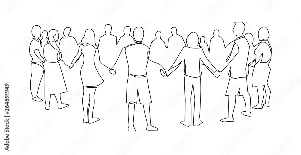 Fototapeta Unity, friendship continuous single line drawing. People, friends holding hands together.