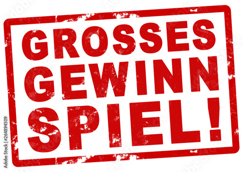 Photo nlsb298 NewLongStampBanner nlsb - Stempel: Grosses Gewinnspiel! - einfach / rot