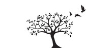 Flying Birds On Tree Vector, Wall Decals, Birds Silhouette, Birds On Branch, Art Design, Wall Art. Isolated On White Background.