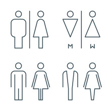 Thin Line Toilet Door Signs