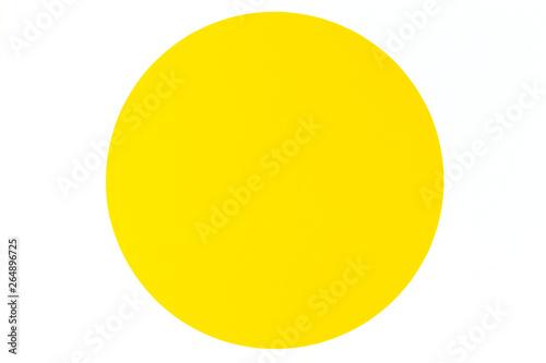 Fototapeta Abstract minimal color paper background. Yellow round circle on white background obraz na płótnie
