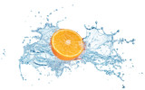 half of fresh orange fruit in water splash