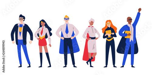 Cuadros en Lienzo Businessmen superheroes. Entrepreneur, manager in a hero costume.