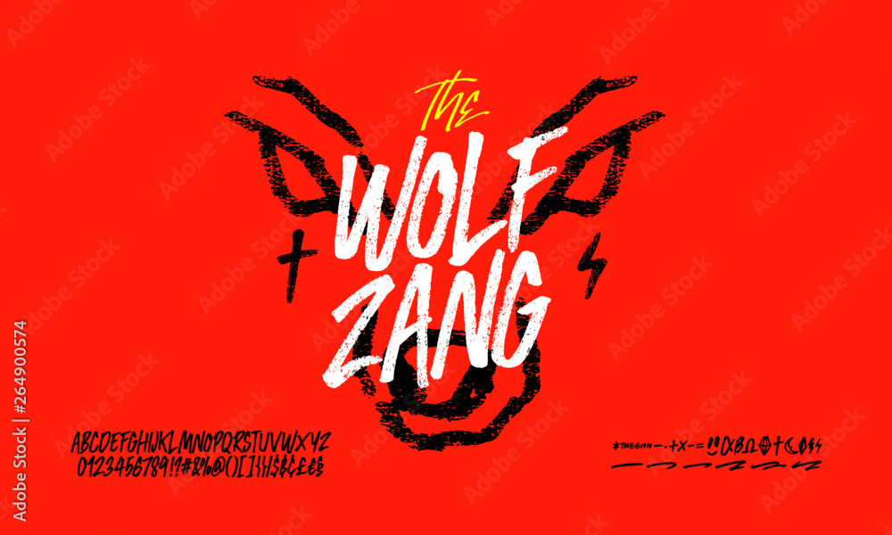 The wolf zang rough font, hand drawn, alphabet vector set <span>plik: #264900574 | autor: maiz</span>