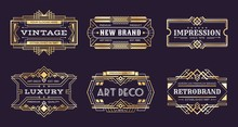 Art Deco Labels. Vintage Ornamental Logos, 1920s Vintage Golden Badge, Nouveau Decorative Banners. Vector Art Deco Emblems Illustration
