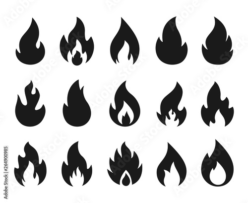 Fire icons  Burning flame silhouette logos, simple fire symbols for