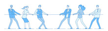Rope Pulling. Team Business Competition, People Rival Pulling Rope. Competition, Conflict Rivalry In Office. Tug Of War Vector Concept. Competition Tug Rope, Team Pull Effort Illustration