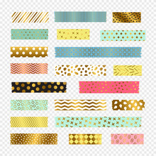 Colorful, Golden Washi Tape Strips, Vector Scrapbook Elements. Sticker Pattern Ripped Adhesive, Tape Washi Label Illustration