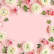Floral Background Frame Made Of Pink Ranunculus And Roses Flower Buds On Pink Background.  Flat Lay, Top View Floral Background.