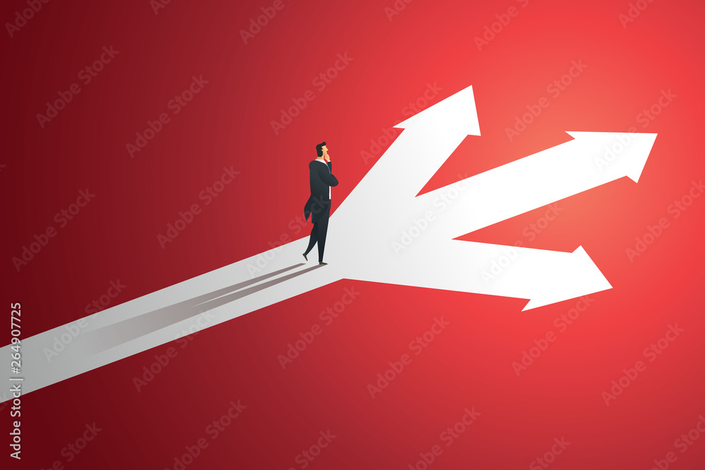 Fototapeta Business person looks at arrow up path three way  to goal success. illustration Vector