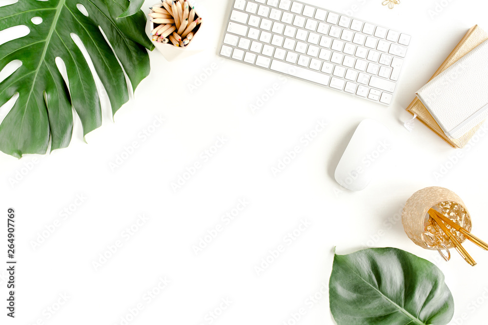 Fototapety, obrazy: Flat lay home office desk. Female workspace with computer,  tropical palm leaves  Monstera, accessories on white background. Top view feminine background.