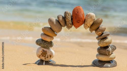 Photo sur Plexiglas Zen pierres a sable red on top