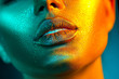 canvas print picture - Fashion model woman face in bright sparkles, colorful neon lights, beautiful sexy girl lips. Trendy glowing gold skin make-up. Glitter metallic shine makeup