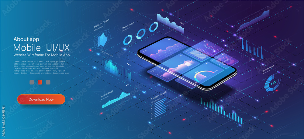 Fototapety, obrazy: Market trend analysis on smartphone with line chart and graphs analysis. Design infographic, statistics on screen. Landing page template. Market trend analysis on smartphone with graphs. Isometric