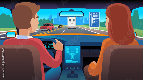 People inside car interior. Travel driver navigation seat dating family passengers taxi safety speed road, flat vector illustration
