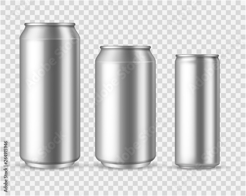 Fototapeta Realistic aluminum cans. Blank metallic can drink beer soda water juice packaging 300 330 500 empty mock up container vector template obraz