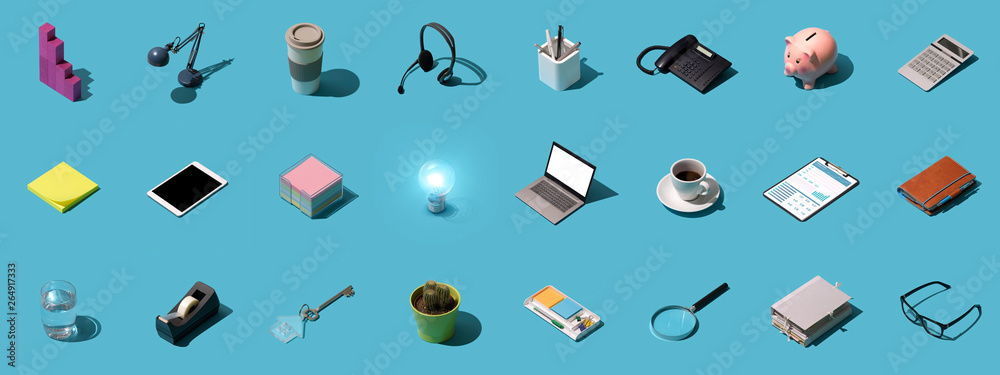 Fototapety, obrazy: Office and business objects background