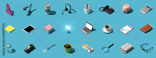 Office and business objects background Fototapeta