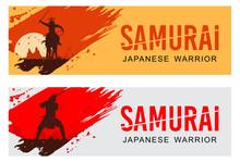 Silhouette Of Japanese Samurai...