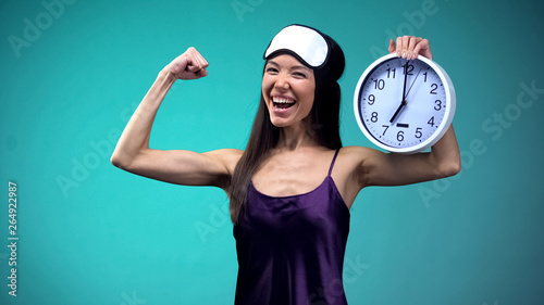 Papiers peints Individuel Full of energy woman wake up early in morning, healthy lifestyle, sleeping value