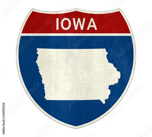 Iowa Interstate road sign Wallpaper Mural