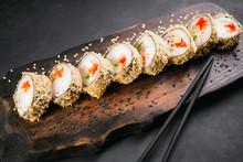 Tempura Maki. Japanese Sushi Tempura Roll On Wooden Platter. Japanese Traditional Fusion Food Style, Restaurant Menu