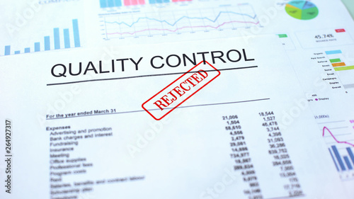 Valokuvatapetti Quality control rejected, seal stamped on official document, business project