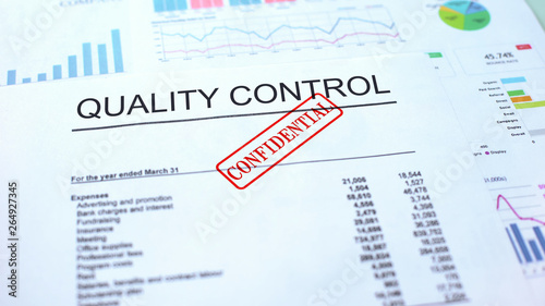 Quality control confidential, seal stamped on official document, business Canvas-taulu