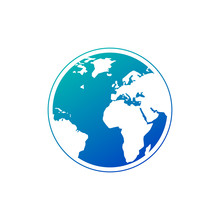 Vector Planet Earth Icon In Gradient Blue Color. Earth Icon. Vector Illustration For Web Banner, Web And Mobile, Infographics. Africa And Europe