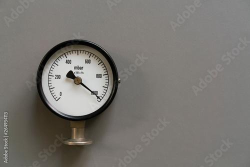 pressure gauge on gray background, engineering equipment concept Canvas Print